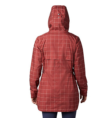 Women's Here And There™ Trench Jacket Here And There™ Trench Jacket   638   M, Dusty Crimson Windowpane Print, back
