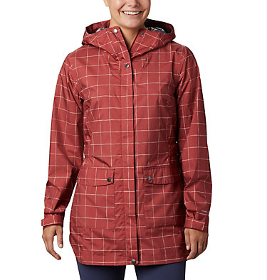 Women's Here And There™ Trench Jacket Here And There™ Trench Jacket   638   M, Dusty Crimson Windowpane Print, front