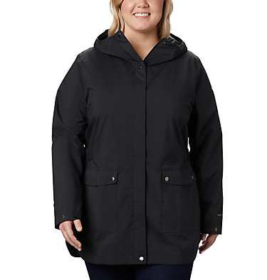 Women's Here And There™ Trench Jacket—Plus Size Here And There™ Trench Jacket | 191 | 1X, Black, front