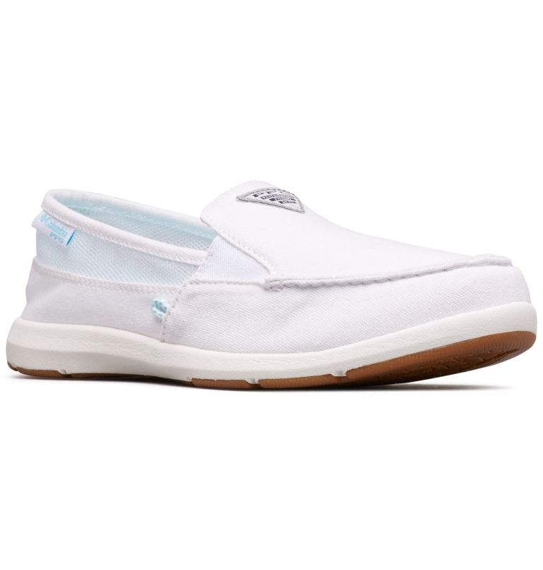 DELRAY™ II SLIP PFG | 100 | 6 Women's PFG Delray™ II Slip Shoe, White, Coastal Blue, 3/4 front