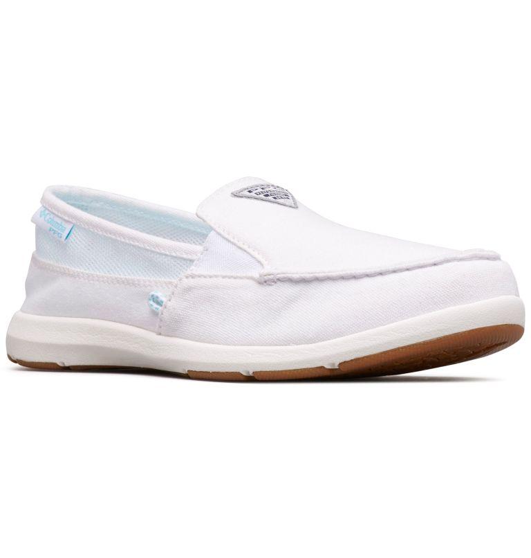 DELRAY™ II SLIP PFG | 100 | 8.5 Women's PFG Delray™ II Slip Shoe, White, Coastal Blue, 3/4 front