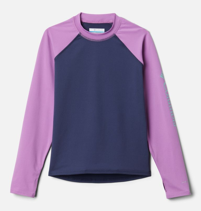 Sandy Shores™ Long Sleeve Sunguard | 471 | XL Kids' Sandy Shores™Long Sleeve Sunguard Shirt, Nocturnal, Blossom Pink, front