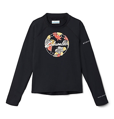 Kids' Sandy Shores™Printed Long Sleeve Sunguard Shirt Sandy Shores™Printed LS Sunguard | 467 | L, Black, Wildfire Tropical Graphic, front