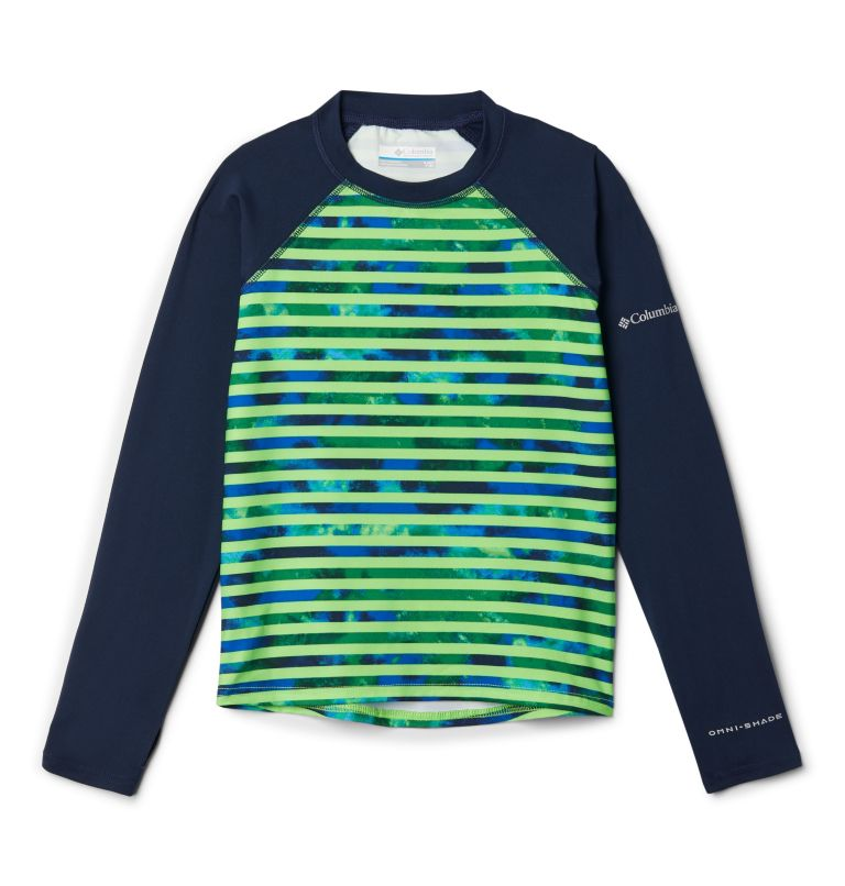 Sandy Shores™ Printed LS Sunguard | 378 | XXS Kids' Sandy Shores™Printed Long Sleeve Sunguard Shirt, Green Mamba Tie Dye Stripe, Coll Navy, front