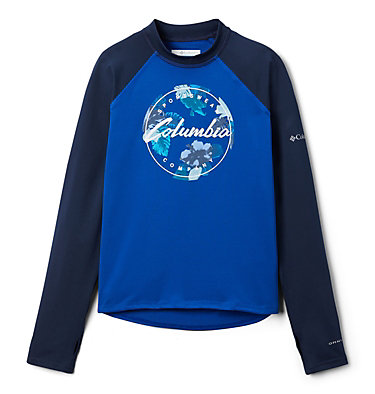 Kids' Sandy Shores™Printed Long Sleeve Sunguard Shirt Sandy Shores™Printed LS Sunguard | 467 | L, Azul, Coll Navy, Azul Tropical Graphic, front