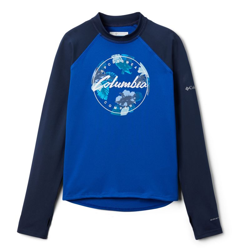 Sandy Shores™Printed LS Sunguard | 439 | S Kids' Sandy Shores™Printed Long Sleeve Sunguard Shirt, Azul, Coll Navy, Azul Tropical Graphic, front