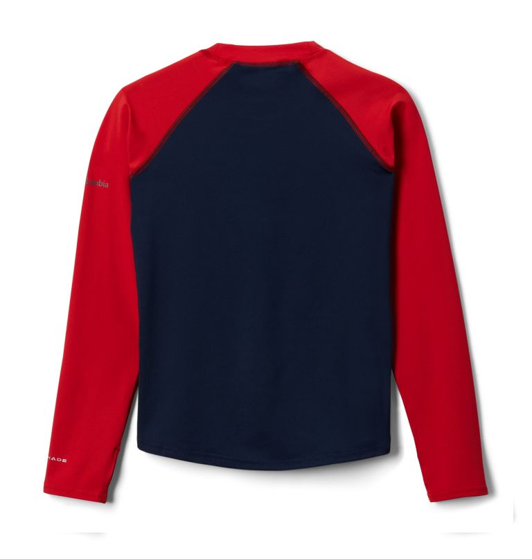 Sandy Shores™ Printed LS Sunguard | 465 | XS Kids' Sandy Shores™Printed Long Sleeve Sunguard Shirt, Coll Navy, Red Spark Outdoor Patriot, back