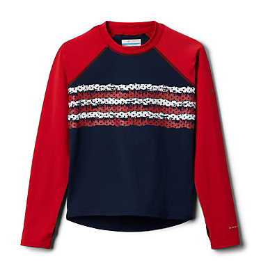 Kids' Sandy Shores™Printed Long Sleeve Sunguard Shirt Sandy Shores™Printed LS Sunguard | 467 | L, Coll Navy, Red Spark Outdoor Patriot, front