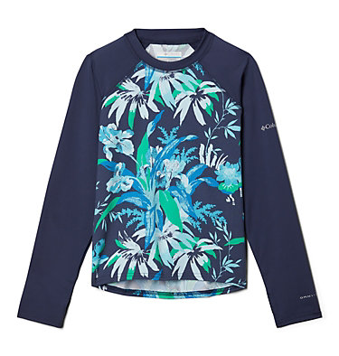 Kids' Sandy Shores™Printed Long Sleeve Sunguard Shirt Sandy Shores™Printed LS Sunguard | 467 | L, Nocturnal Magnolia Floral, Nocturnal, front
