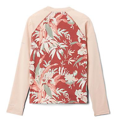 Kids' Sandy Shores™Printed Long Sleeve Sunguard Shirt Sandy Shores™Printed LS Sunguard | 467 | L, Dusty Crimson Magnolia Flrl, Peach Cloud, back