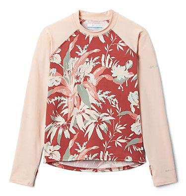 Kids' Sandy Shores™Printed Long Sleeve Sunguard Shirt Sandy Shores™Printed LS Sunguard | 467 | L, Dusty Crimson Magnolia Flrl, Peach Cloud, front