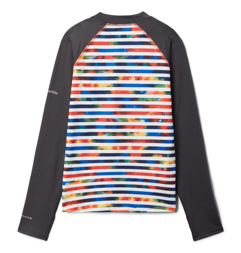 Sandy Shores™ Printed LS Sunguard | 845 | S Kids' Sandy Shores™Printed Long Sleeve Sunguard Shirt, Wildfire Tie Dye Stripe, Shark, back