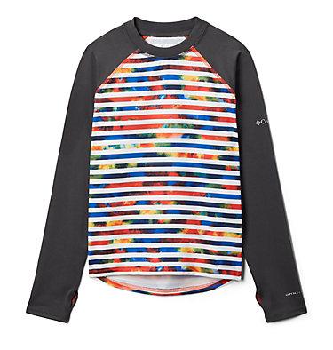 Kids' Sandy Shores™Printed Long Sleeve Sunguard Shirt Sandy Shores™Printed LS Sunguard   467   L, Wildfire Tie Dye Stripe, Shark, front