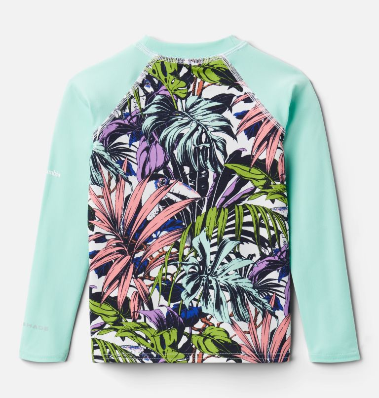 Sandy Shores™ Printed LS Sunguard | 101 | 3T Kids' Toddler Sandy Shores™ Printed Long Sleeve Sunguard Shirt, White Toucanical Multi, Mint Cay, back