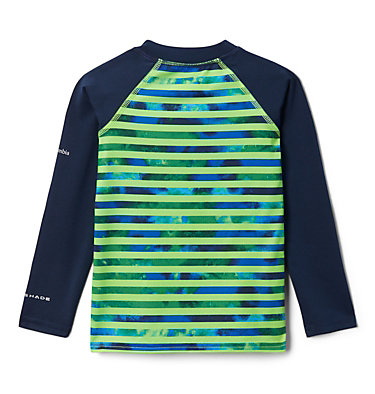 Kids' Toddler Sandy Shores™ Printed Long Sleeve Sunguard Shirt Sandy Shores™ Printed LS Sunguard | 467 | 2T, Green Mamba Tie Dye Stripe, Coll Navy, back