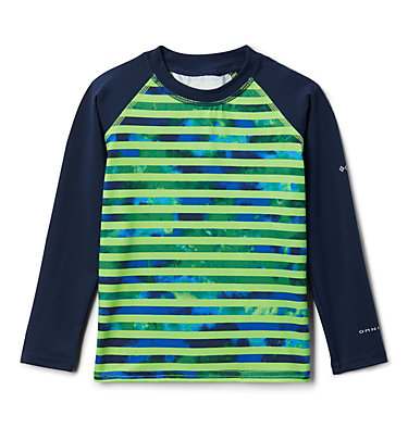 Kids' Toddler Sandy Shores™ Printed Long Sleeve Sunguard Shirt Sandy Shores™ Printed LS Sunguard | 467 | 2T, Green Mamba Tie Dye Stripe, Coll Navy, front