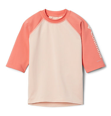 Kids' Sandy Shores™Short Sleeve Sunguard Shirt Sandy Shores™Short Sleeve Sunguard | 580 | L, Peach Cloud, Melonade, front