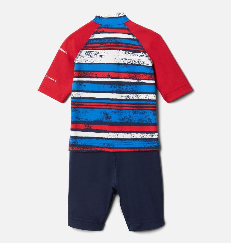 Sandy Shores™Sunguard Suit | 465 | 3T Toddler Sandy Shores™Sunguard Suit, Collegiate Navy Texture Stripe, Mtn Red, back