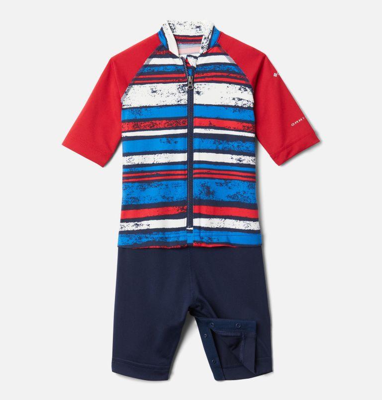 Sandy Shores™Sunguard Suit | 465 | 3T Toddler Sandy Shores™Sunguard Suit, Collegiate Navy Texture Stripe, Mtn Red, front