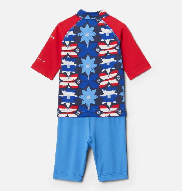 Sandy Shores™Sunguard Suit | 485 | 3T Toddler Sandy Shores™Sunguard Suit, Harbor Blue Nostalgia Floral, Red Lily, back