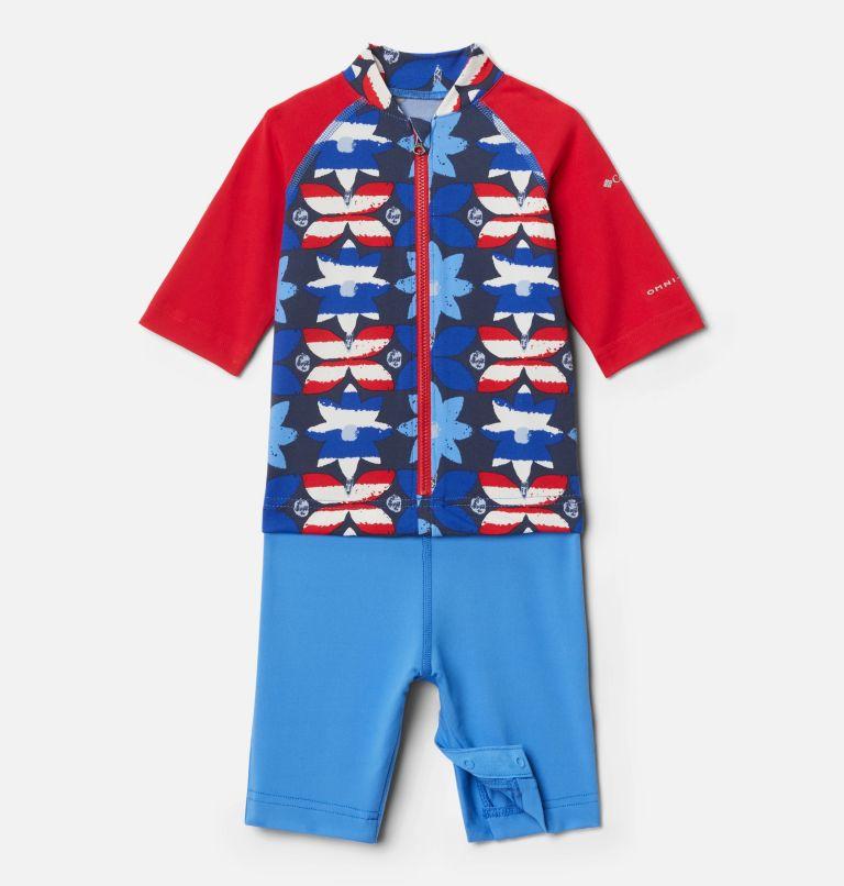 Sandy Shores™Sunguard Suit | 485 | 3T Toddler Sandy Shores™Sunguard Suit, Harbor Blue Nostalgia Floral, Red Lily, front