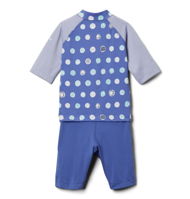 Sandy Shores™ Sunguard Suit | 542 | 3T Toddler Sandy Shores™Sunguard Suit, African Violet Polka Pets, back