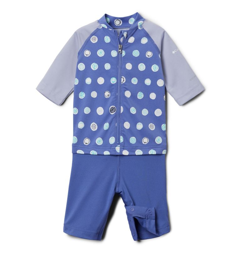 Sandy Shores™ Sunguard Suit | 542 | 2T Toddler Sandy Shores™Sunguard Suit, African Violet Polka Pets, front