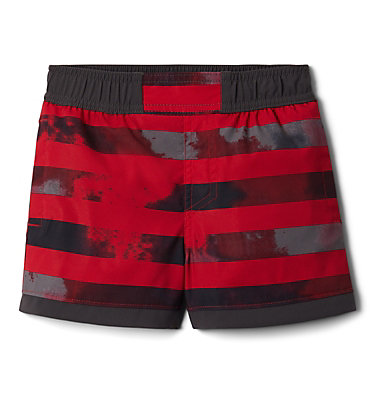Boys' Toddler Sandy Shores™ Board Shorts Sandy Shores™Boardshort | 614 | 2T, Mtn Red Tie Dye Stripe, Shark, front