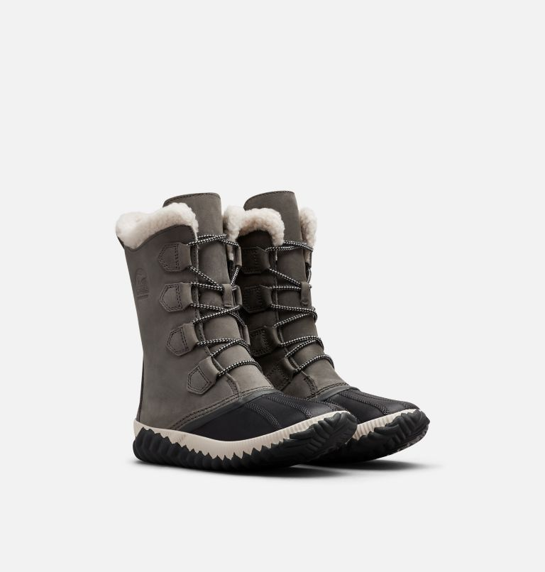 OUT N ABOUT™ PLUS TALL | 053 | 7 Womens Out N About™ Plus Tall Duck Boot, Quarry, Coal, 3/4 front