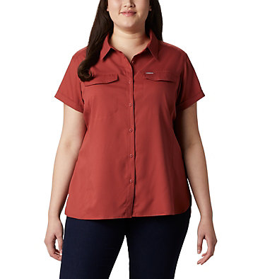 Women's Silver Ridge™ Lite Short Sleeve - Plus Size Silver Ridge™ Lite Short Sleeve | 490 | 1X, Dusty Crimson, front