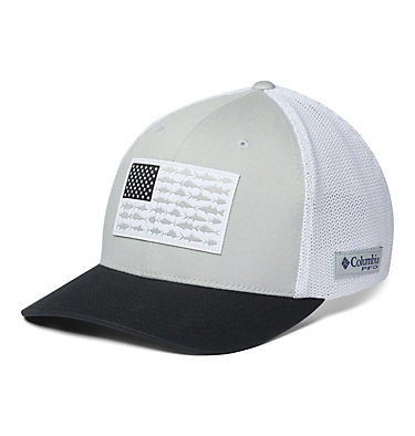 PFG Mesh Fish Flag Ball Cap PFG Mesh™ Fish Flag Ball Cap | 469 | L/XL, Cool Grey, White, Black, US Flag, front