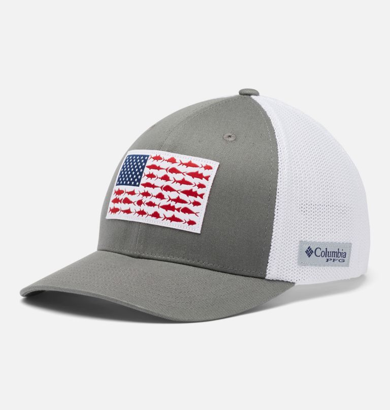 PFG Mesh™ Fish Flag Ball Cap | 049 | L/XL PFG Mesh Fish Flag Ball Cap, Titanium, White, front