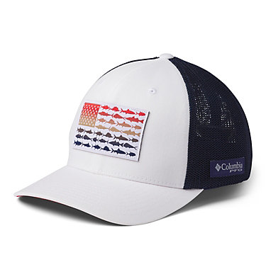 PFG Mesh Fish Flag Ball Cap PFG Mesh™ Fish Flag Ball Cap | 469 | L/XL, White, Carbon, Red Spark, US Fish, front