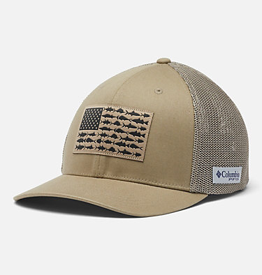 PFG Mesh Fish Flag Ball Cap PFG Mesh™ Fish Flag Ball Cap | 469 | L/XL, Tusk, front