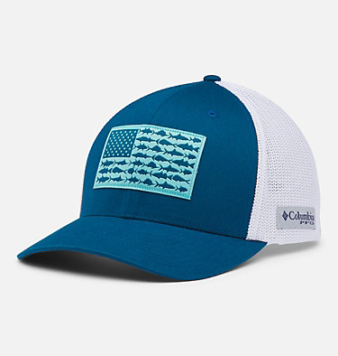 PFG Mesh Fish Flag Ball Cap PFG Mesh™ Fish Flag Ball Cap | 469 | L/XL, Aegean Blue, White, US Fish Flag, front