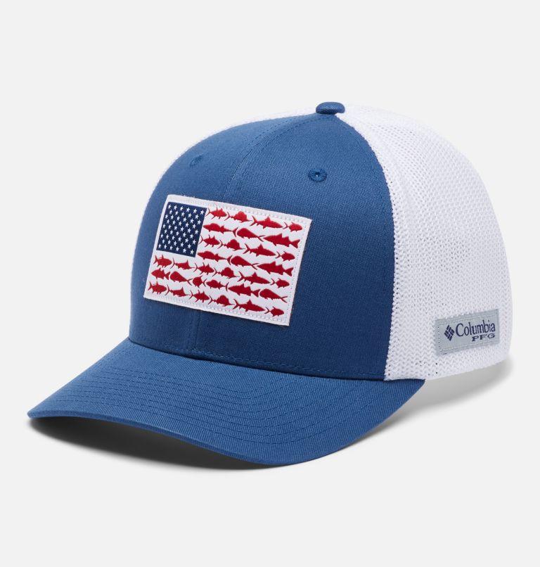 PFG Mesh™ Fish Flag Ball Cap   452   S/M PFG Mesh Fish Flag Ball Cap, Night Tide, White, front