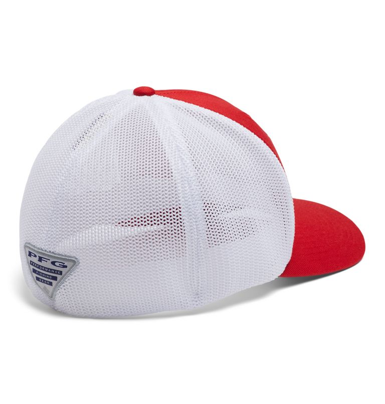 PFG Mesh™ Fish Flag Ball Cap | 696 | L/XL PFG Mesh Fish Flag Ball Cap, Red Spark, White, US Fish, back