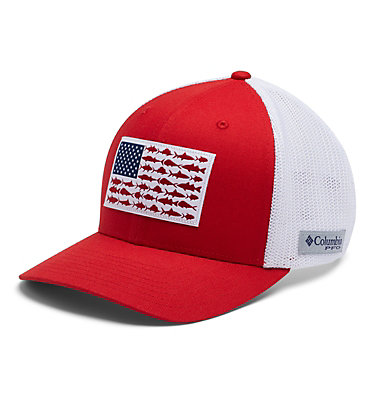 PFG Mesh Fish Flag Ball Cap PFG Mesh™ Fish Flag Ball Cap | 469 | L/XL, Red Spark, White, US Fish, front