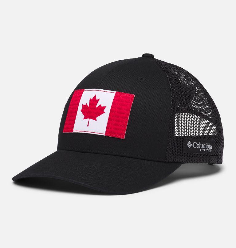 PFG Mesh Snap Back™ Fish Flag Ball Cap | 014 | O/S Casquette de baseball PFG Mesh Snap Back™ Fish Flag, Black, Canada Flag, front