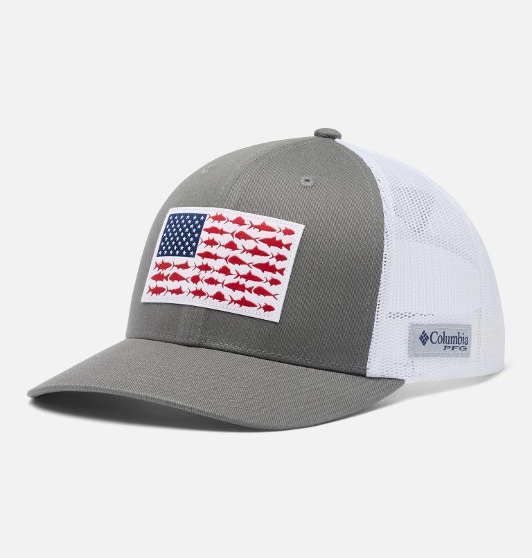 PFG Mesh Snap Back™ Fish Flag Ball Cap   049   O/S PFG Mesh Snap Back™ Fish Flag Ballcap, Titanium, White, front
