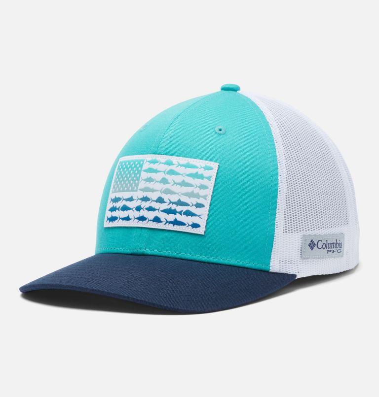 PFG Mesh Snap Back™ Fish Flag Ball Cap | 454 | O/S PFG Mesh Snap Back™ Fish Flag Ballcap, Bright Aqua, White, Collegiate Navy, front