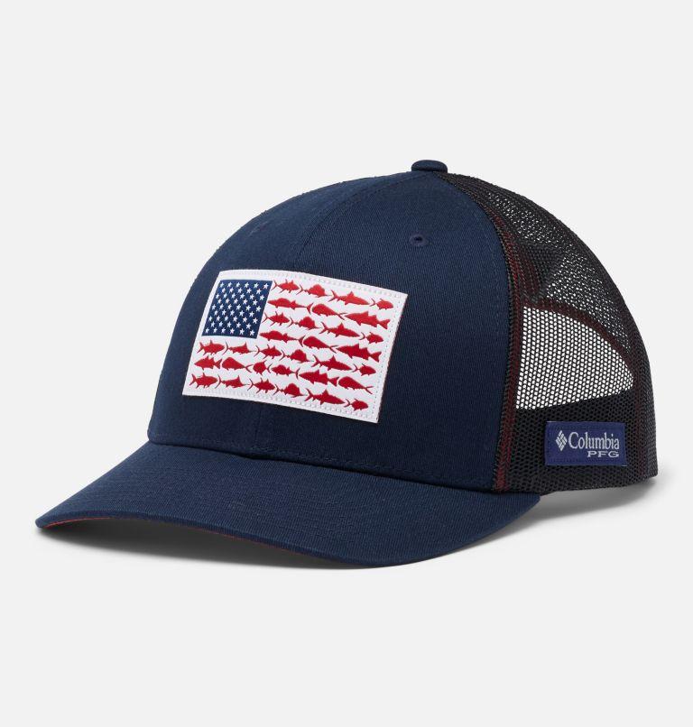 PFG Fish Flag™ Mesh Snap Back - High   464   O/S PFG Mesh Snap Back™ Fish Flag Ballcap, Collegiate Navy, Sunset Red, front