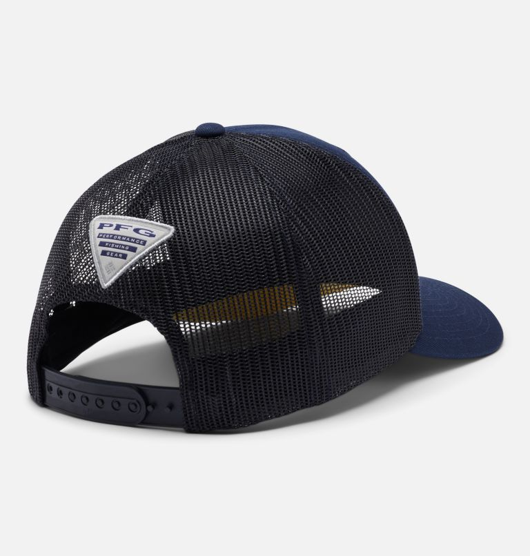 PFG Mesh Snap Back™ Fish Flag Ball Cap | 465 | O/S PFG Mesh Snap Back™ Fish Flag Ballcap, Collegiate Navy, Sun Glow, Fish Flag, back