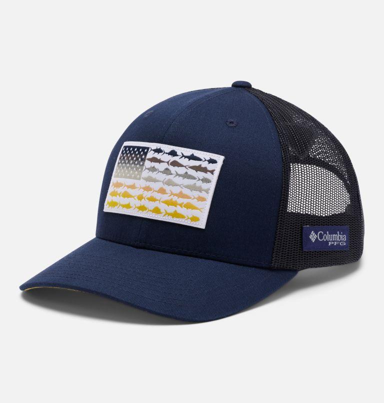 PFG Mesh Snap Back™ Fish Flag Ball Cap | 465 | O/S PFG Mesh Snap Back™ Fish Flag Ballcap, Collegiate Navy, Sun Glow, Fish Flag, front