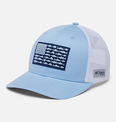PFG Mesh Snap Back™ Fish Flag Ballcap PFG Mesh Snap Back™ Fish Flag Ball Cap | 372 | O/S, Sail, White, Fish Flag, front