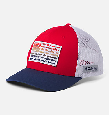 PFG Mesh Snap Back™ Fish Flag Ballcap PFG Mesh Snap Back™ Fish Flag Ball Cap | 372 | O/S, Red Spark, White, Carbon, front