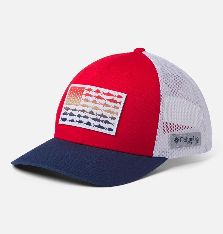 PFG Mesh Snap Back™ Fish Flag Ball Cap | 696 | O/S PFG Mesh Snap Back™ Fish Flag Ballcap, Red Spark, White, Carbon, front