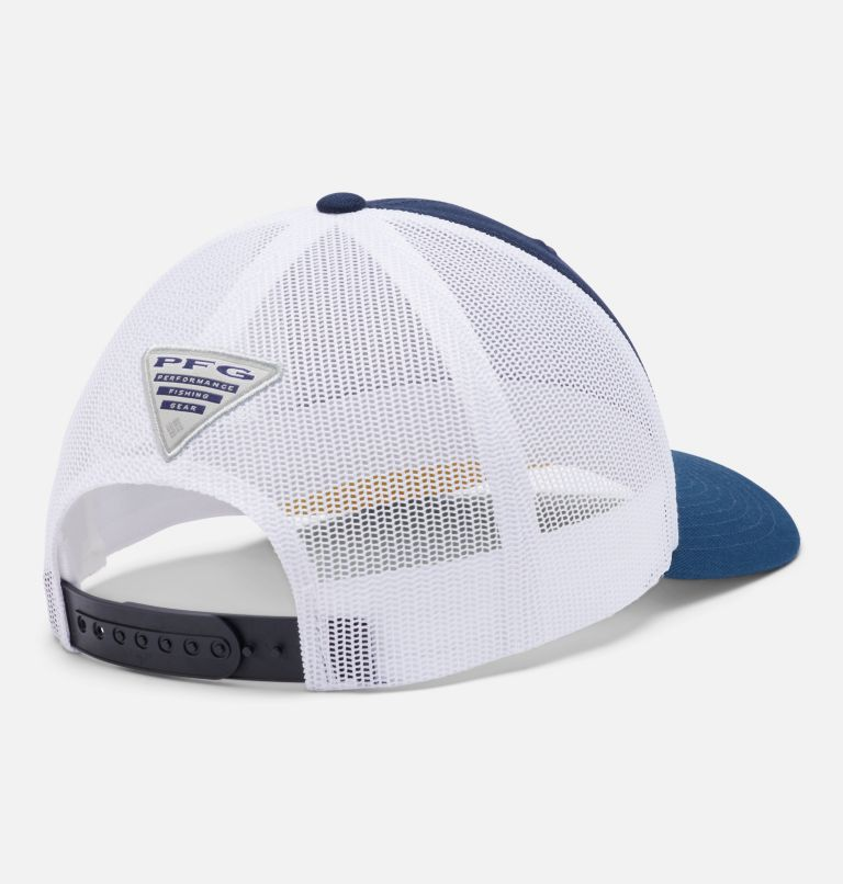PFG Mesh Snap Back™  Hooks Ball Cap | 466 | O/S PFG Mesh Snap Back™ Hooks Ball Cap, Collegiate Navy, Petrol Blue, Sun Glow, back
