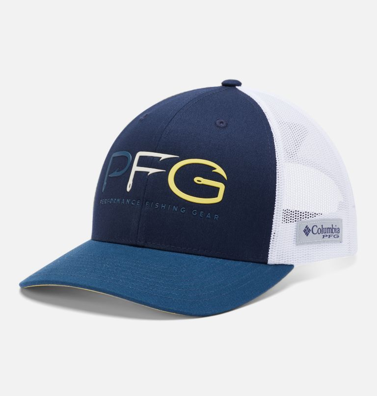 PFG Mesh Snap Back™  Hooks Ball Cap | 466 | O/S PFG Mesh Snap Back™ Hooks Ball Cap, Collegiate Navy, Petrol Blue, Sun Glow, front