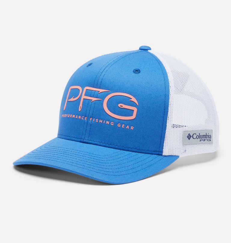 PFG Mesh Snap Back™  Hooks Ball Cap | 487 | O/S PFG Mesh Snap Back™ Hooks Ball Cap, Vivid Blue, Rose Gold PFG, front
